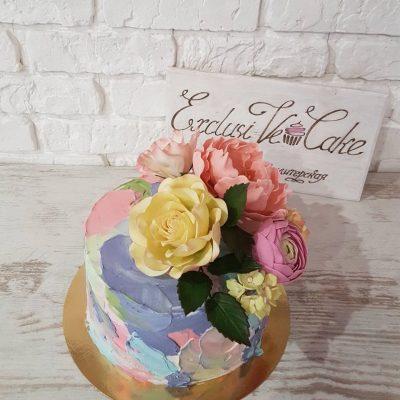 торт с художественной росписью