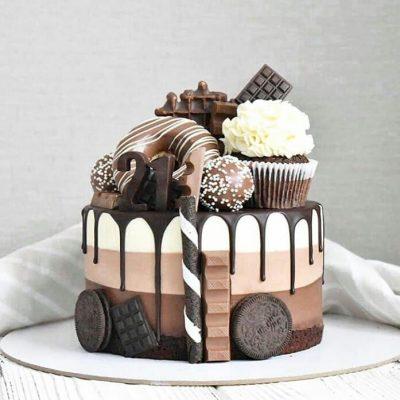 торт аппликация печеньем
