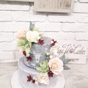 торт 2 яруса с цветами