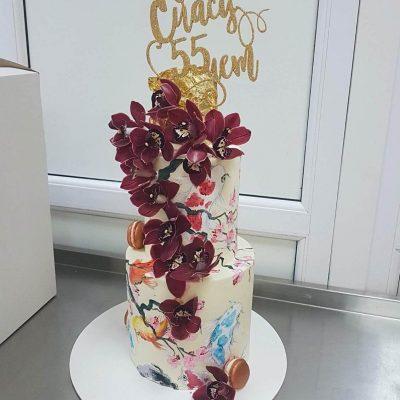 торт с орхидеями 2 этажа