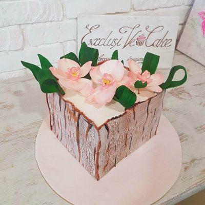 торт с орхидеями вазон