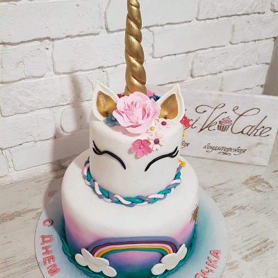 торт единорог с рожком