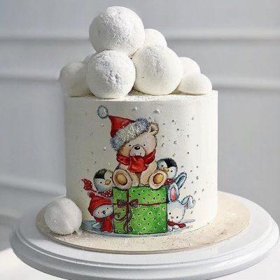 торт на новый год 2020 с мишкой