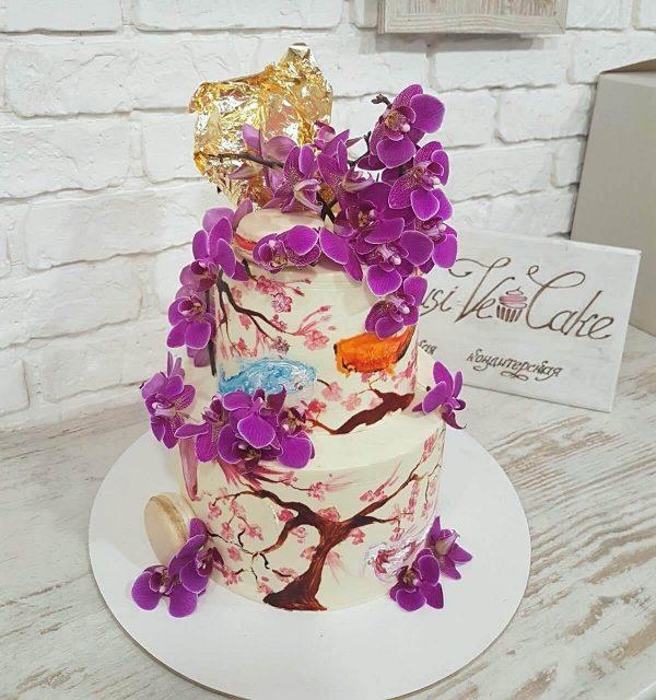 торт с орхидеями фиолетовыми