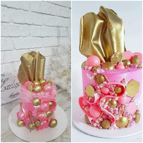 торт с золотыми украшениями