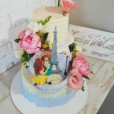 торт Париж пара влюбленных
