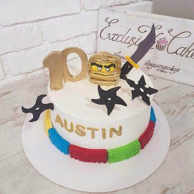 Торт Золотой ниндзя Лего