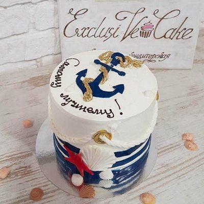 Торт с якорем моряку